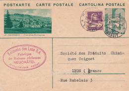 Entier Postal Avec Affr. Compl.de Bolducks Des Lacs S.A., Fabr. De Rubans Réclames, Neuchâtel-illustr. Le Noirmont - Ganzsachen