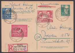 """P 35, Orts-R-Karte """"Dresden"""" Mit Zusatzfrankatur, Kein Text - Sowjetische Zone (SBZ)"""