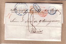 ETATS UNIS - LETTRE DE PHILADELPHIE POUR PARIS , STEAMSHIP A BOSTON , PAID , TAXE D'ENTREE - 1845 - Marcophilie (Lettres)