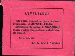 """123 LEGGI RAZZIALI A. XVII , FOGLIETTO ,"""" TUTTI I BRANI .. QUESTA ANTOLOGIA APPARTENGONO AD AUTORI ARIANI ... - Documenti Storici"""