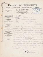 MILANO G AZIMONTI PIANO TERRENO UFFICIO DI PUBBLICITA SISTEMI SIPARI TAVOLI QUADRI CARTELLI ANNEE 1884 - Italia