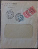 2 Timbres Semeuse 10c YT N°129 + Type Blanc 5c YT N°111 Sur Enveloppe - Ob. Marseille 1906 - Marcophilie (Lettres)