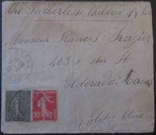 2 Timbres Semeuse 10c Et 15c YT N°130 Et 135 Sur Enveloppe France Vers Etats-Unis (Eldorado) - 1920 - Marcophilie (Lettres)