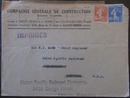2 Timbres Semeuse 10c Et 25c YT N°235 Et 279 Sur Enveloppe France Vers Etats-Unis (Omaha Nebraska) - 1937 - 1921-1960: Période Moderne