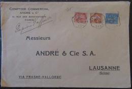 3 Timbres Semeuse 25c, 50c, 1f YT N°199, 205, 235 Sur Grande Enveloppe France Vers Suisse - 1932 - 1921-1960: Période Moderne
