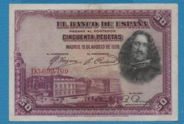 ESPANA 50 Pesetas15.08.1928 Serie D3.692.709 KM# 75b - [ 1] …-1931 : Prime Banconote (Banco De España)
