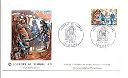 FDC 1971 JOURNEE DU TIMBRE - LEZOUX PUY DE DOME - FDC