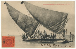 New Caledonia A Double Pirogue With Sails . P. Used 1905 Fiji To Austin USA Canaques - New Caledonia