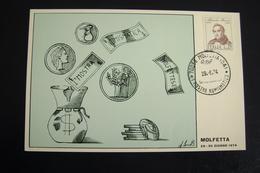 1974      MOLFETTA  FDC MOSTRA  NUMISMATICA   FIRST DAY PREMIER JOUR MAXIMUM - Monete (rappresentazioni)
