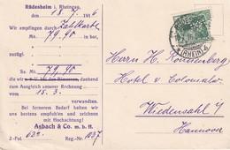 ALLEMAGNE  1916 CARTE DE  RÜDESHEIM PERFORE/PERFIN - Deutschland