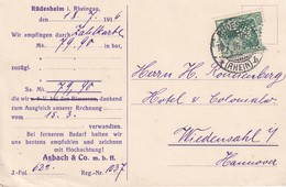 ALLEMAGNE  1916 CARTE DE  RÜDESHEIM PERFORE/PERFIN - Allemagne