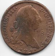 Espagne - Charles III - 1774 - Cuivre - Monnaies Provinciales