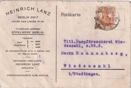 ALLEMAGNE  1917   CARTE DE BERLIN PERFORE/PERFIN - Allemagne
