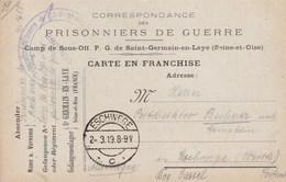 Carte Franchise Militaire Camp De Sous Officiers Prisonniers De Saint Germain En Laye Pour Eschwege - Marcophilie (Lettres)