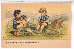ILLUSTRATEURS  SCOUT  LA CORVEE  DES  CHAUSSURES    BE  AU553 - Künstlerkarten