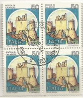 Castelli D.13e1/4 L.50 Quartina Usata - 6. 1946-.. Repubblica