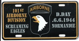 WW2 - Plaque Immatriculation Véhicule - 101st Airborne Division - Screaming Eagles - 1939-45