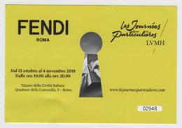 Roma, 2018, FENDI, Les Journées Particulières LVMH, Biglietto D'ingresso, 12-10-2018/4-11-2018 - Tickets D'entrée