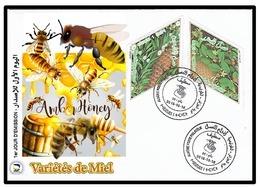 ALGERIE ALGERIA 2018 - BEES ABEILLES BIENEN MIEL HONEY INSECTES INSECTS ODD SHAPE LOSANGE DIAMOND - FDC-Limited Editon - Algérie (1962-...)