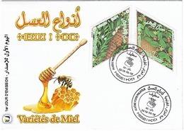 ALGERIE ALGERIA 2018 - BEES ABEILLES BIENEN MIEL HONEY INSECTES INSECTS ODD SHAPE LOSANGE DIAMOND - FDC-Limited Editon - Honeybees