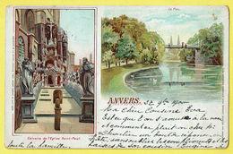 * Antwerpen - Anvers - Antwerp * (Maison Léonhard Tietz) Calvaire église St Paul, Le Parc, étang, Cygne, Pont, Rare 1900 - Antwerpen