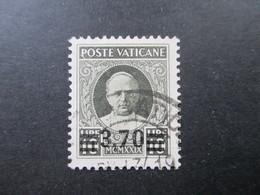 Vatikanstadt / Vatican Nr. 44 Gestempelt Geprüft / Signiert! Katalogwert 500€. Freimarke Papst Pius Mit Aufdruck - Used Stamps