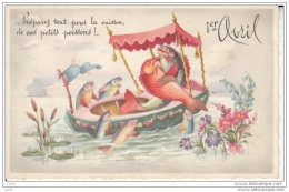BT97.Vintage Greetings Postcard. April Fools. Courting Fish Out Boating. - April Fool's Day