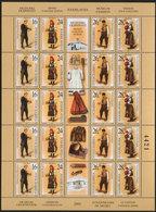 Yugoslavia 2002 National Costumes, Sheet Of 5 Sets, MNH (**) Michel 3093-3096 - Hojas Y Bloques