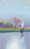 AM86 Artist Drawn - Sailing Boat On A Lake - 1900-1949