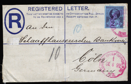 A5675) UK Grossbritannien R-Brief 1892 Roter Stempel London Chief Office - Storia Postale