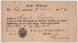 """1825, Postschein """" Chemnitz """", #a1223 - Saxony"""