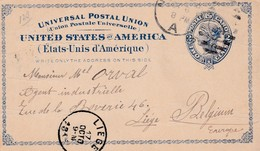 Carte  Etats Unis Vers Lièges (Belgique) - Poste Aérienne