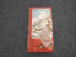 RARE ANTIQUE TOURISM BROCHURE SWITZERLAND  W/ INFORMATIONS MAP AND PICS W/ BEAUTIFUL DRAWS - Dépliants Touristiques