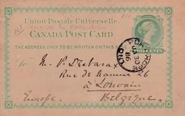 Canada Post Card Anne De La  Pocardière Vers Louvain (Belgique)1886 - Airmail