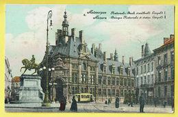 * Antwerpen - Anvers - Antwerp * (E.S.A.B., Nr 8) Nationale Bank, Standbeeld Leopold I, Banque, Tram, Vicinal, Rare, Old - Antwerpen