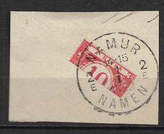 Beau Cachet NAMEN  Namur 1922 Sur  Moitié De Timbre TAXE 10 Sur Fragment  Voir Scan - Sin Clasificación