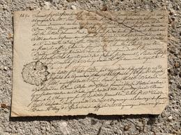 ANNEE 1747 Moitié D' Acte Pierre André Cirodde Cirode ? Bailly De CLEMONT ET BRINON Province D'argent Sur Sauldre - Documents Historiques