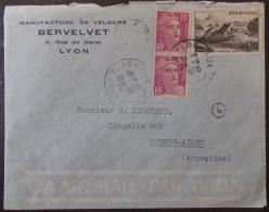 Timbres YT N°843 Et Paire Verticale Du N°811 Sur Enveloppe France Vers Argentine (Buenos-Aires) - 1950 - Postmark Collection (Covers)