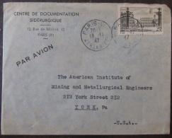 Timbre YT N°778 Sur Enveloppe France Vers Etats-Unis (York) - 1947 - Postmark Collection (Covers)