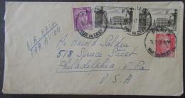 Timbres YT N°720 (mèches Croisées), 811 Et 822 Sur Enveloppe France Vers Etats-Unis (Philadelphie) - 1948 - 1921-1960: Période Moderne