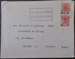 Timbre YT N°1216 (Paire Verticale) Sur Enveloppe France Vers Etats-Unis (Chicago) - 1959 - Marcophilie (Lettres)