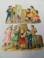 2 Beaux Découpis CACAO PAYRAUD Enfants Au Téléphone & Petit Cinéma (projecteur) Polichinelle Chat XIXeme 1A1 - Enfants