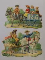 2 Beaux Découpis Chromos CACAO PAYRAUD Attelage De Chèvres Et Anes Enfants Et Fleurs XIXeme 1A2 - Enfants