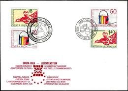 Liechtenstein 1988: Zu 886-887 Mi 945-946 & Costa Rica 1347-48 COOPERACION Auf Kombi-FDC (Zu CHF 4.00) - Emissions Communes