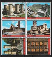AJMAN STATE AN 1972 COMPLETE SET GENOVA TAORMINA ASSISI NAPOLI FLORENCE SIENA ARQUITECTURA MEDIOEVAL - Eglises Et Cathédrales