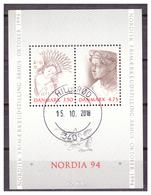 """DANIMARCA -1992 - """"NORDIA 94"""" ESPOSIZIONE FILATELICA DEI PAESI NORDICI AD ÅRHUS. MACCHIA GIALLA  - USATO/ VFU - Denmark"""