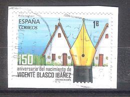 España 2017 - 1 Sello Usado Y Circulado Con Fragmento-VicenteBlasco Ibañez -Espagne Spain Spanien Spagna - Profesiones