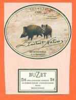 étiquette De Vin De Buzet L'instant Nature 1999 à Buzet Sur Baise - 75 Cl - Sangliers - Chasse