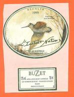 étiquette De Vin De Buzet L'instant Nature 1999 à Buzet Sur Baise - 75 Cl - Becasse - Chasse