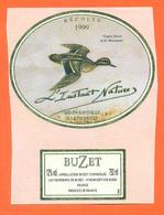 étiquette De Vin De Buzet L'instant Nature 1999 à Buzet Sur Baise - 75 Cl - Canard - Chasse